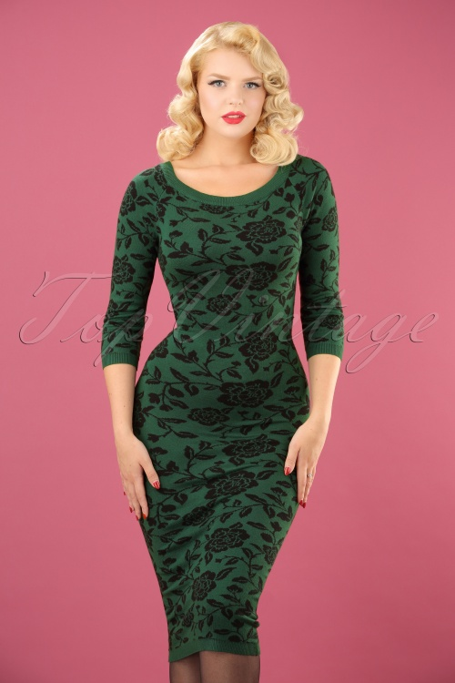 Collectif Clothing Ivana Knitted Dress in Green 18931 20160601 0003 (2)w