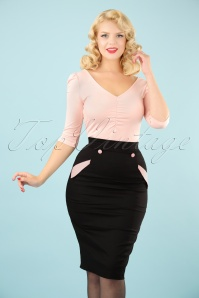 50s Stella Pencil Skirt in Black and Pink