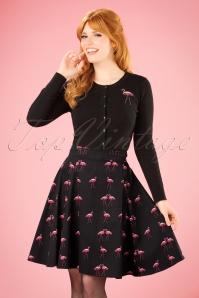 50s Tammy Winter Flamingo Skirt in Black