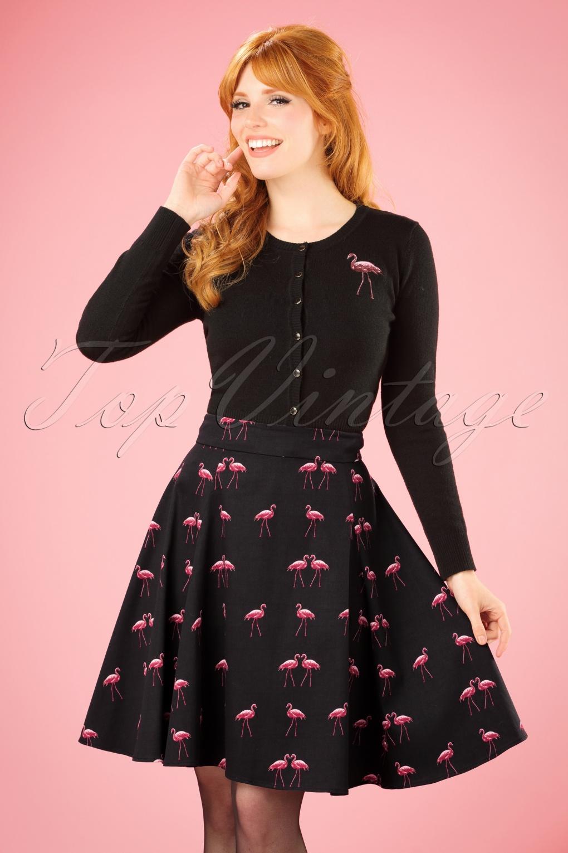 1c089b7feb5 50s Tammy Winter Flamingo Skirt in Black