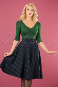 50s Apple Of My Eye Tartan Skirt in Blue and Green