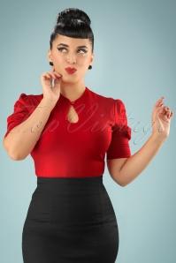 Dita Keyhole Top Années 50 en Rouge