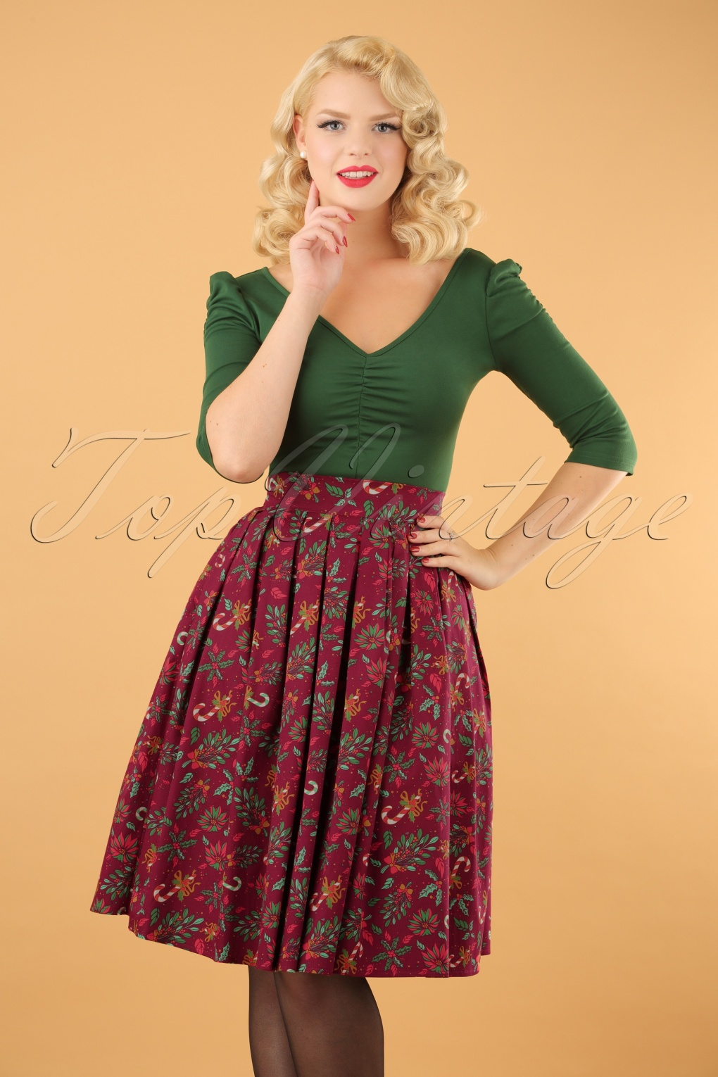 Retro Skirts: Vintage, Pencil, Circle, & Plus Sizes 50s Autumn Leaves Skirt in Burgundy £38.76 AT vintagedancer.com