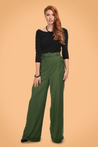 Collectif Clothing Gertrude 40s Trousers in Green 21964 20170606 0014