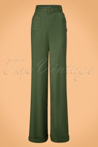 Collectif Clothing Gertrude 40s Trousers in Green 21964 20170606 0005w