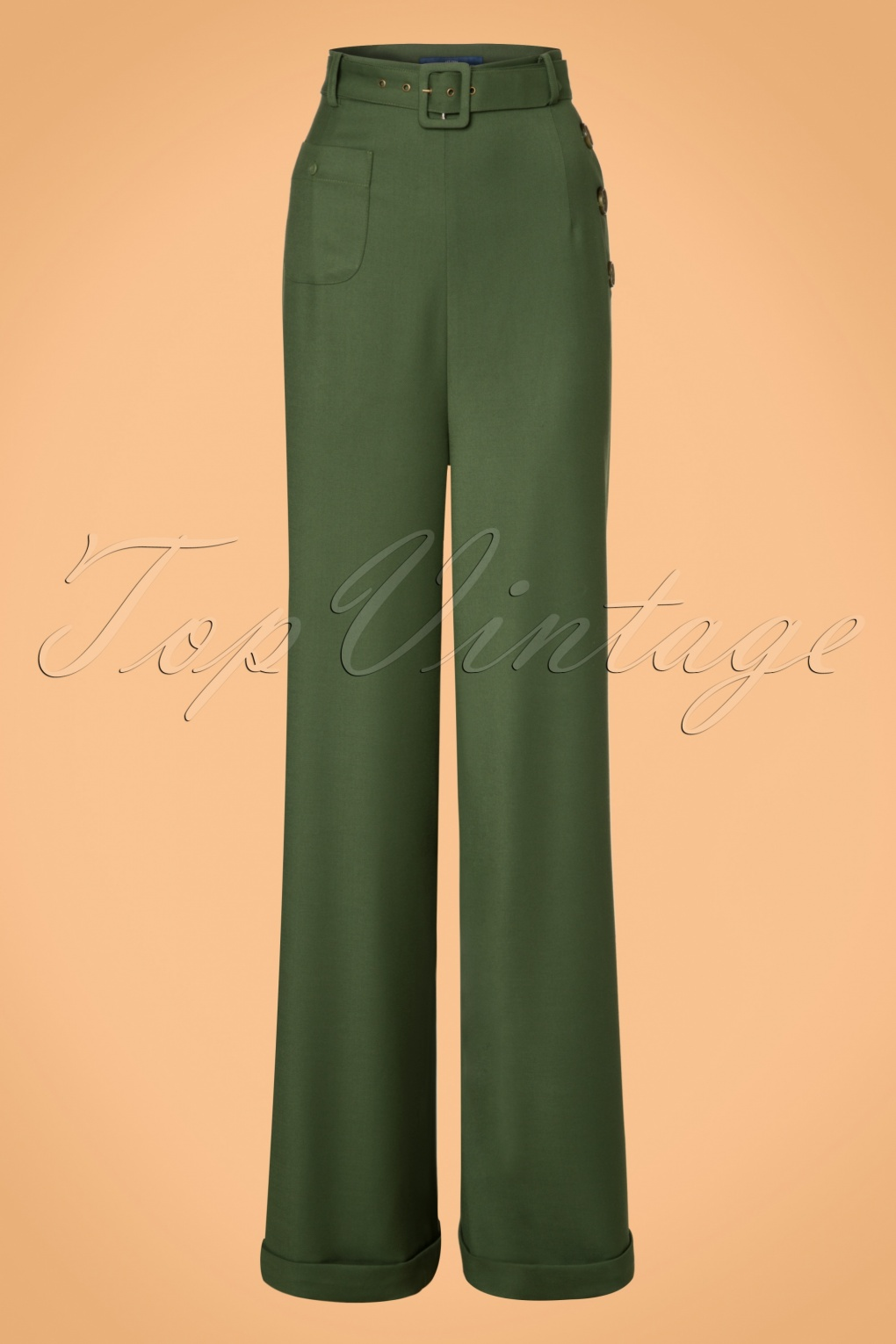 Vintage High Waisted Trousers, Sailor Pants, Jeans 40s Gertrude Trousers in Green £67.39 AT vintagedancer.com