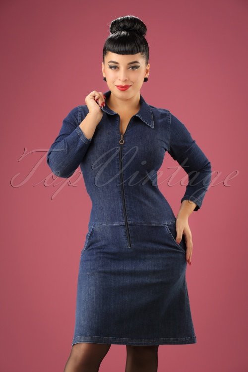 Collectif Clothing Paula A line Denim Dress 106 30 21583 20170801 01w