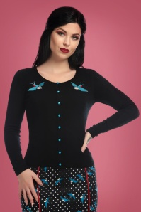 Collectif Clothing Jo Rockabilly Swallows Cardigan in Black 21775 20170607 0008