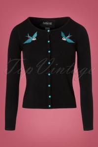 Collectif Clothing Jo Rockabilly Swallows Cardigan in Black 21775 20170607 0005w
