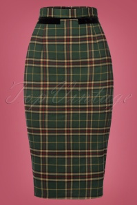 Banned Bliss Green Checked Pencil Skirt 120 49 22364 20170828 0005w
