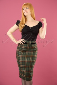 50s Bliss Tartan Pencil Skirt in Green