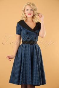 Bridget Gingham Swing Dress Années 50 en Noir et Navy