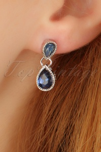 50s Betty Blue Diamond Earrings in Silver