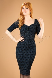 Collectif Clothing Dolores Half Sleeve Brocade Pencil Dress in Blue 21974 20170612 0007w