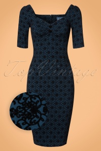 Collectif Clothing Dolores Half Sleeve Brocade Pencil Dress in Blue 21974 20170612 0001wv