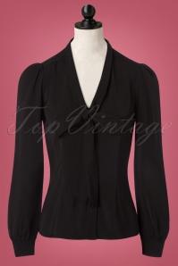 50s Margaret Bow Blouse in Black