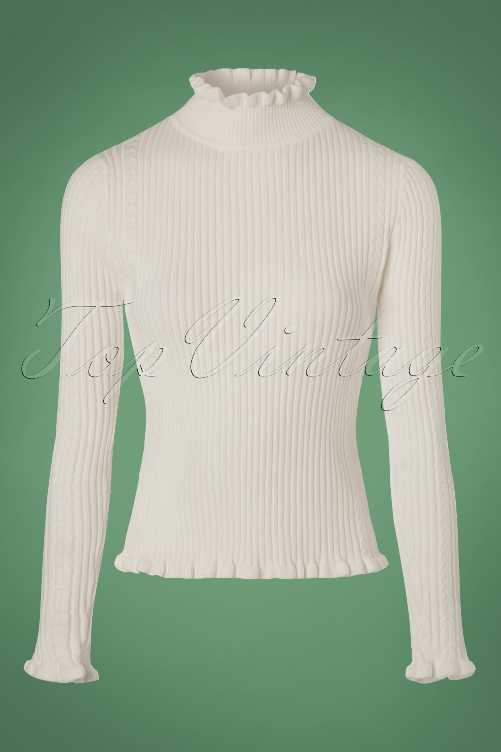 1960s -1970s Blouses, Shirts and Tops 60s Frill Turtleneck Jumper in Cream £62.24 AT vintagedancer.com