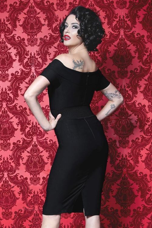 50s craft pencil dress in black