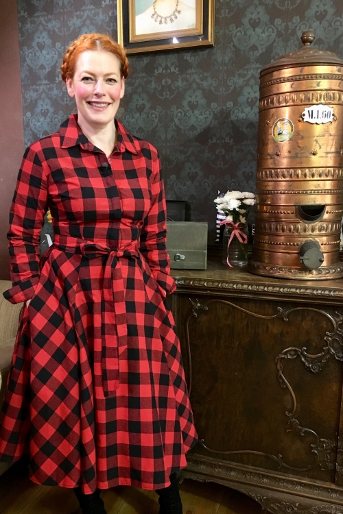 50s mara checked shirt dress in black and red. Black Bedroom Furniture Sets. Home Design Ideas