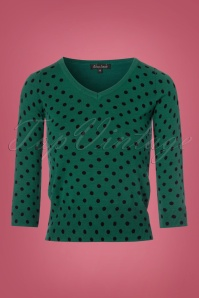 King Louie Deep V Top in Green with Polkadots 113 49 21362 20170929 0003w
