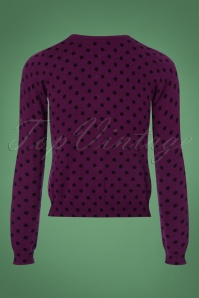 King Louie Roundneck Cardigan in Purple with Polkadots 140 69 21389 20170929 0007w