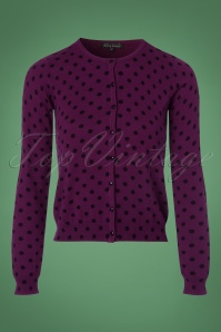 King Louie Roundneck Cardigan in Purple with Polkadots 140 69 21389 20170929 0002w