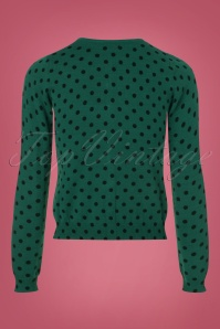 King Louie Roundneck Cardigan in Green with Polkadots 140 49 21388 20170929 0003w