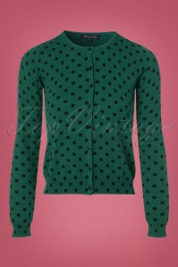 King Louie Roundneck Cardigan in Green with Polkadots 140 49 21388 20170929 0002w