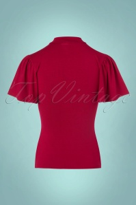 Topvintage Boutique Collection Viscose Waterfall Top in Red 113 20 22460 20170929 0006w