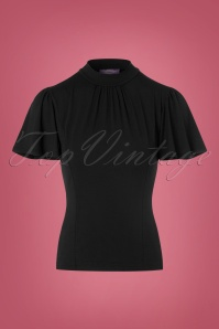 Topvintage Boutique Collection Viscose Waterfall Top in Black 113 10 22459 20170929 0002w