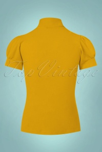 Vintage Chic Scuba Crepe Puff Sleeve Top in Mustard 110 80 22486 20170719 0005w