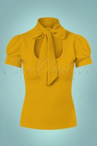 Vintage Chic Scuba Crepe Puff Sleeve Top in Mustard 110 80 22486 20170719 0004w