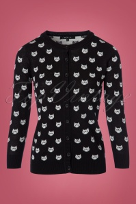 Mak Sweater Cats Cardigan in Black 140 14 23265 20170929 0007w
