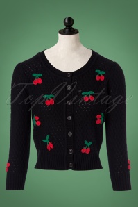 50s Jennie Cherry Cardigan in Black