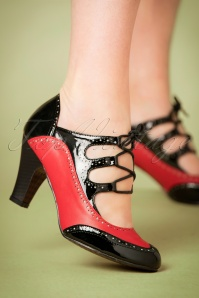 40s Save The Last Dance Pumps in Red and Black