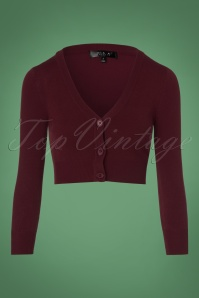 50s Shela Cropped Cardigan in Burgundy