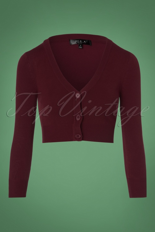 Mak Sweater V neck Cropped Cardigan inBurgundy 140 20 23273 20171002 0002w