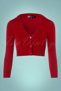 Mak Sweater V neck Cropped Cardigan in Red 140 20 23270 20171002 0002w