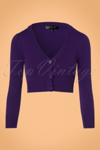 Mak Sweater V neck Cropped Cardigan in Purple 140 60 23274 20171002 0002w