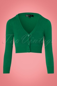 50s Shela Cropped Cardigan in Emerald Green