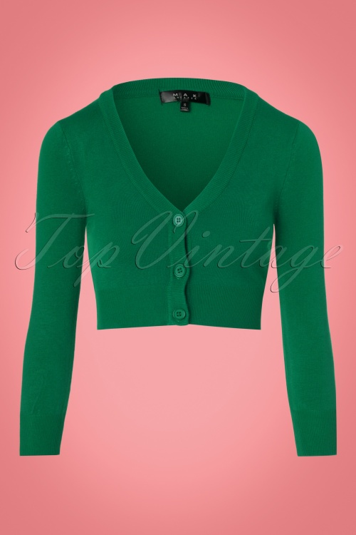 Mak Sweater V neck Cropped Cardigan in Kelly Green 140 40 23271 20171002 0002w