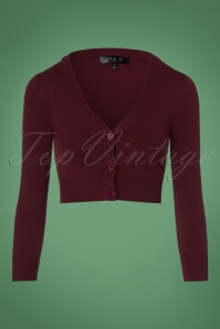 Mak Sweater V neck Cropped + Size Cardigan in Burgundy 140 20 23611 20171002 0002w