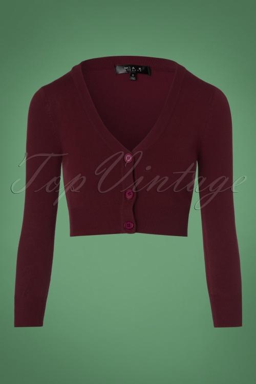 Mak Sweater V neck Cropped + Size Cardigan in Burgundy 140 20 23611 20171002 0002w