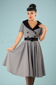 50s Bridget Gingham Swing Dress in Black and White