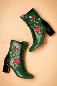 60s Fantasy Floral Booties in Green