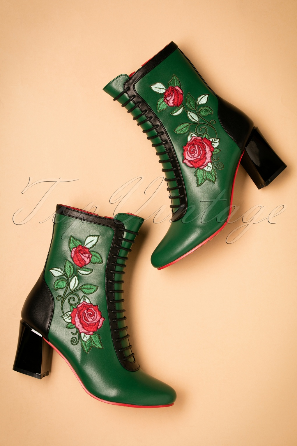 Vintage Style Shoes, Vintage Inspired Shoes 60s Fantasy Floral Booties in Green £85.38 AT vintagedancer.com