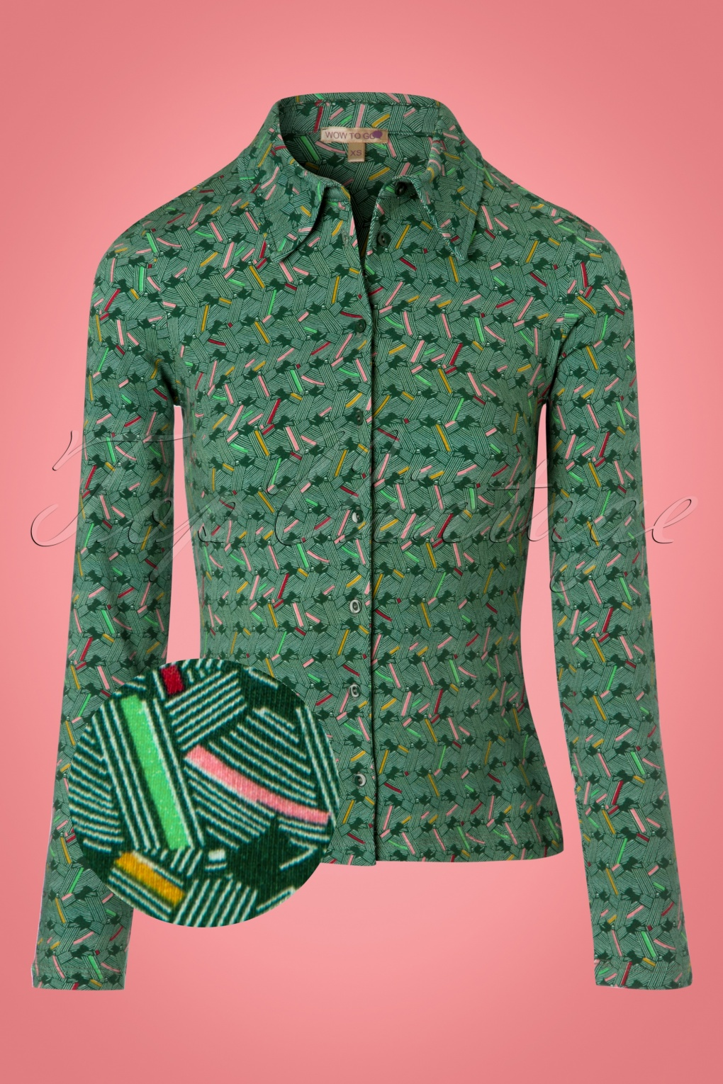1960s -1970s Blouses, Shirts and Tops 60s Nikko Blouse in Green £53.34 AT vintagedancer.com