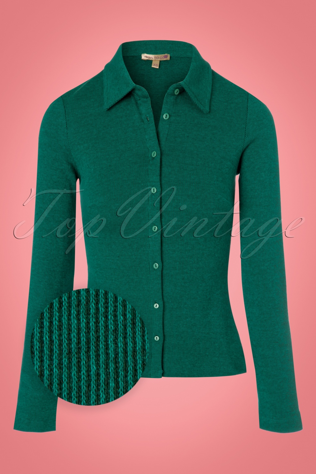 1960s -1970s Blouses, Shirts and Tops 60s Pole Blouse in Green £53.34 AT vintagedancer.com