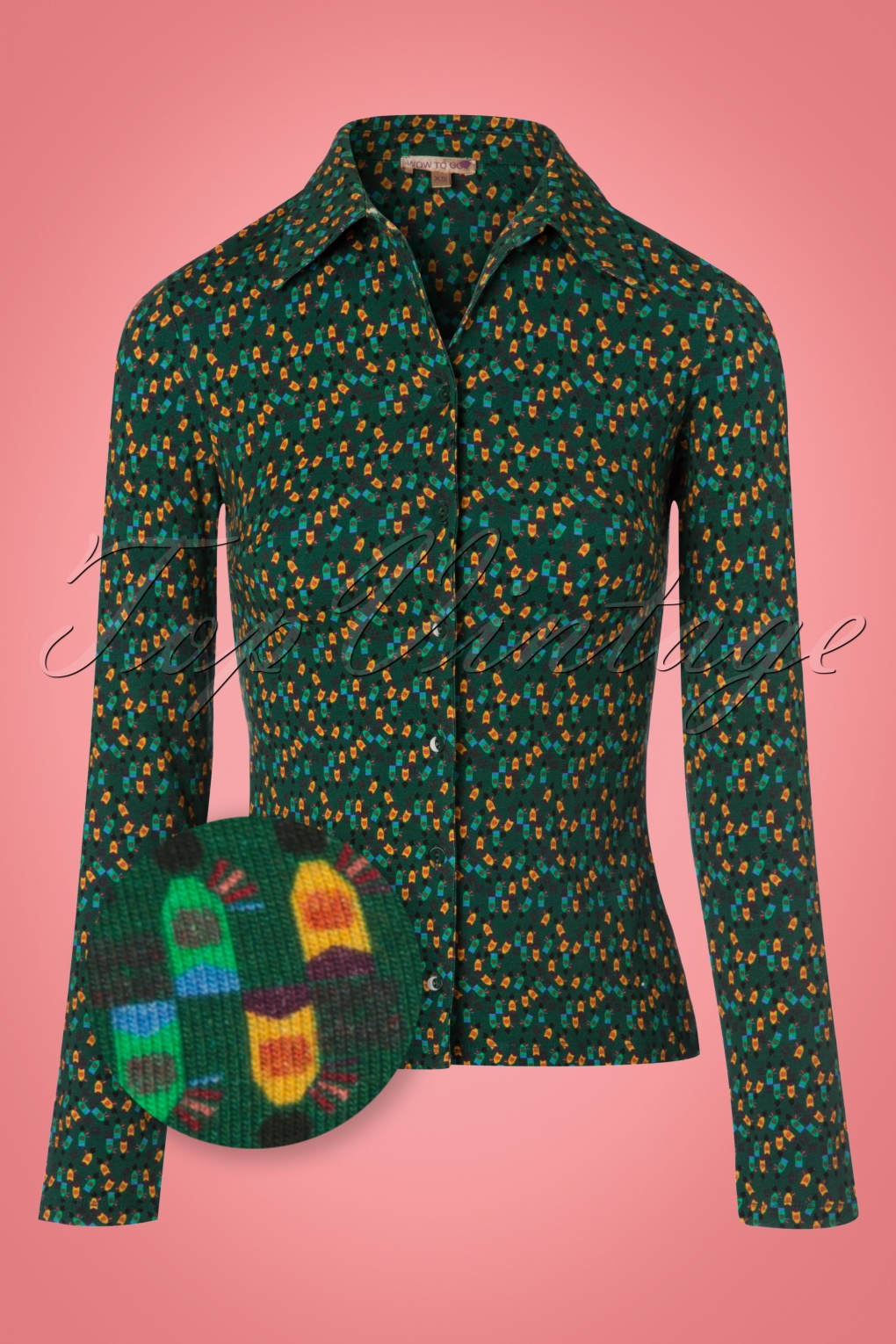 1960s -1970s Blouses, Shirts and Tops 60s Harakiri Blouse in Green £53.34 AT vintagedancer.com