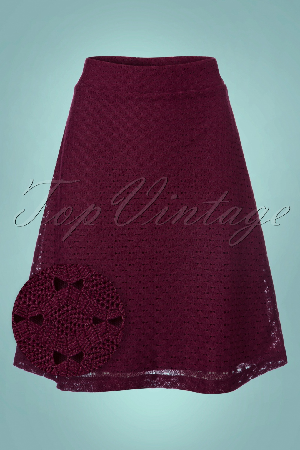 Retro Skirts: Vintage, Pencil, Circle, & Plus Sizes 60s Gul Skirt in Aubergine £44.45 AT vintagedancer.com